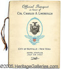 Transportation:Aviation, BANQUET PROGRAM HONORING CHARLES LINDBERGH BUFFALO NY. Offici...