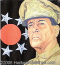 "Military & Patriotic:WWII, MAGNIFICENT HUGE HAND-PAINTED MACARTHUR SIGN. 48 x 54"" painte..."