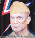 "Military & Patriotic:WWII, MARVELOUS HUGE, HAND-PAINTED EISENHOWER SIGN. 48 x 54"" painte..."