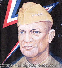 """MARVELOUS HUGE, HAND-PAINTED EISENHOWER SIGN. P 48 x 54"""" painted on artist's board, with 2"""" wood frame. Just a..."""