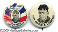 """Transportation:Aviation, TWO NICE 1927 CHARLES LINDBERGH BUTTONS. 1 1/4"""" beauties, oneB&..."""
