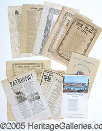 CIVIL WAR SONGSHEETS. Wonderful grouping of Civil War songsheets in good condition. Some showing wear, folds and light a...