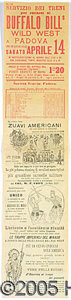 Western Expansion:Cowboy, BUFALO BILL 1906 ILLUSTRATED ITALIAN BROADSIDE. A rare large ...