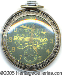 ADMIRAL RICHARD ABAYRD POCKET WATCH. Nickle-plated brass pocket watch manufactured by Ingraham of Bristol, CT to commemo...