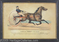 "Antiques:Posters & Prints, 1871 CURRIER AND IVES OF ""LUCY"" THE TROTTING MARE. Two-stoned..."