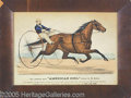 Antiques:Posters & Prints, AMERICAN GIRL TROTTING MARE CURRIER AND IVES LITHO. A wonderf...