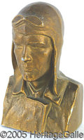 Antiques:Toys, 1928 ARTIST SIGNED LINDBERG FIGURAL BANK. A nicely done represen...