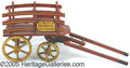 Antiques:Toys, EARLY PAINTED WOODEN ST. CLAUS TOY WAGON. Nicely trimmed a...