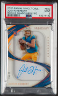 Football Cards:Singles (1970-Now), 2020 Panini Immaculate Collection Justin Herbert Rookie Shadowbox Signature #SS3 PSA Mint 9 - Serial 5/49....