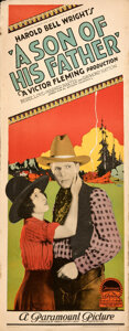 """Movie Posters:Western, A Son of His Father (Paramount, 1925). Rolled, Fine/Very Fine. Insert (14"""" X 36""""). Western.. ..."""