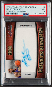 2009 Timeless Treasures Private Signings Kobe Bryant Autograph #1 PSA NM 7 - Serial Numbered 81/100