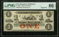 Obsoletes By State:New Hampshire, Rollinsford, NH- Salmon Falls Bank $1 18__ Remainder G4a PMG Gem Uncirculated 66 EPQ.. ...