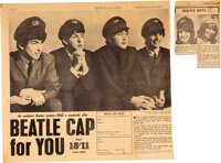 The Beatles Cap Newspaper Clippings (2) (1964)