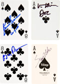 Movie/TV Memorabilia:Autographs and Signed Items, Tombstone Cast Signed Playing Cards (4)....