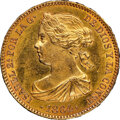 Spain: Isabel II gold 100 Reales 1864 UNC Details (Obverse Cleaned) NGC