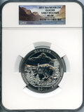 Modern Bullion Coins, 2011 25C Five Ounce Silver Glacier, Early Releases, MS68 NGC. NGC Census: (18/2622). PCGS Population: (12/2)....