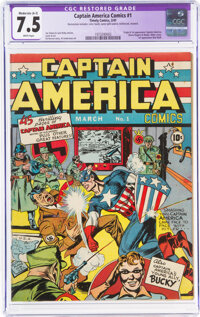 Captain America Comics #1 (Timely, 1941) CGC Apparent VF- 7.5 Moderate (A-3) White pages