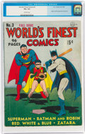 Golden Age (1938-1955):Superhero, World's Finest Comics #3 (DC, 1941) CGC VG+ 4.5 Off-white pages....