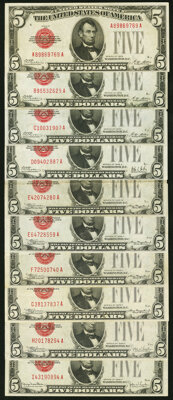 Fr. 1525 $5 1928 Legal Tender Notes. A-A, B-A, and C-A Blocks. Very Fine or Better; Fr. 1526 $5 1928A Legal Tender Note...