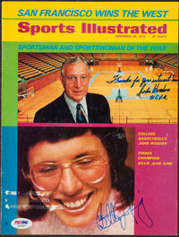 "1972 John Wooden & Billie Jean King Dual-Signed ""Sports Illustrated"" Cover Page"