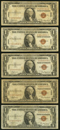 Small Size:World War II Emergency Notes, Fr. 2300 $1 1935A Hawaii Silver Certificates. Five Examples. Very Good-Fine or Better.. ...