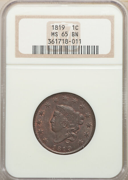 1819 1C Small Date, BN 65 NGC