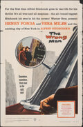 """Movie Posters:Hitchcock, The Wrong Man (Warner Bros., 1957). Folded, Fine-. One Sheet (27"""" X 41""""). Hitchcock.. ..."""