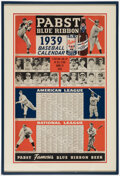 Baseball Collectibles:Others, 1939 Pabst Beer Baseball Schedule Framed Poster. ...