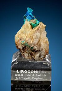 Liroconite on Quartz Wheal Gorland, St Day Cornwall England, UK  ... (Total: 2 Items)