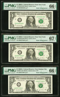 Radar Serial Numbers 63466436 and 63677636 Fr. 1930-B $1 2003A Federal Reserve Notes. PMG Graded Gem Uncirculated 66 EPQ...