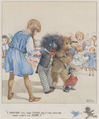 Honor Appleton (British, 1879-1951) I promise you that Teddy and I will hold him tight, won't we Teddy, Where the Dol