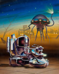 Paintings, Barclay Shaw (American, b. 1949). Time Machine and War of the Worlds, paperback cover, 1985. ...
