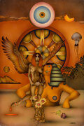 Paintings, Charles Moll (American, 20th Century). Psychedelic Sphinx. Mixed media on board. 28 x 19 inches (71.1 x 48.3 cm). Signed...