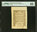 Rhode Island May 1786 2s 6d PMG Choice Uncirculated 63