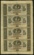 Obsoletes By State:Louisiana, New Orleans, LA- Citizens Bank $5-$5-$5-$5 18__ Uncut Sheet Choice About Uncirculated.. ...