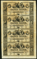 Obsoletes By State:Louisiana, New Orleans, LA- Canal Bank $50-$50-$50-$50 18__ Uncut Sheet Choice Crisp Uncirculated.. ...