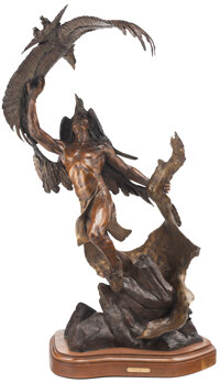 Vic Payne (American, b. 1960) Ancient Hunter, 2006 Bronze with brown patina 43-5/8 inches (110.8