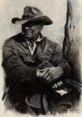 Works on Paper, James Erwin Boren (American, 1921-1990). A Study of a Cowboy, 1971. Pastel on paper. 18-1/4 x 12-7/8 inches (46.4 x 32.7...