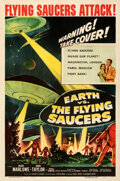 """Movie Posters:Science Fiction, Earth vs. the Flying Saucers (Columbia, 1956). Fine+ on Linen. One Sheet (27"""" X 41"""").. ..."""