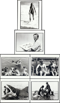 """Jaws (Universal, 1975). Near Mint. Behind-the-Scenes Photos (6) (8"""" X 10"""") Louis Goldman Photography. ... (Tot..."""