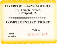 The Beatles Unused Liverpool Jazz Society Complimentary Ticket (1961)