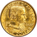 Commemorative Gold, 1922 G$1 Grant Gold Dollar, No Star, -- Obverse Cleaned -- NGC Details. Unc. Mintage 5,000....