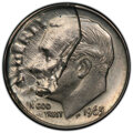 Errors, 1965 10C Roosevelt Dime -- Obverse 40% Struck Thru Partial Clad Detached Layer -- AU58 PCGS....