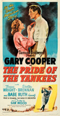 """Movie Posters:Sports, The Pride of the Yankees (RKO, R-1949). Folded, Very Fine+. Three Sheet (41"""" X 79"""").. ..."""
