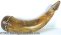 """Antiques:Folk Art, 12 1/2"""" SAILOR HORN SIGNED DATED 1810 TO 1830. Hard to find and ..."""