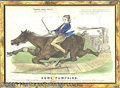 Antiques:Posters & Prints, HISTORIC 1850 CURRIER PRINT OF RACE BETWEEN LOCOMOTIVE AND HORSE...