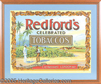 REDFORD'S TOBACCO ADVERTISING FRAMED SIGN. P Professionally framed and matted, this colorful graphic advertising sign pi...