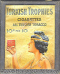 Antique Stone Lithography:Cigar Label Art, 1911TURKISH TROPIES LITHOGRAPHED ADVERTISING SIGN. Heavily em...