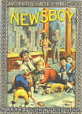 Antique Stone Lithography:Cigar Label Art, OUTSTANDING NEWSBOY TOBACCO ADVERTISING SIGN. Excellent color an...