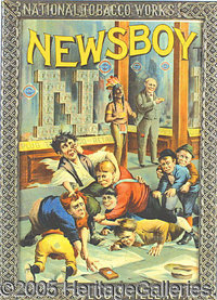 OUTSTANDING NEWSBOY TOBACCO ADVERTISING SIGN. Excellent color and wonderful graphic appeal, this advertising sign for Ne...